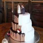 Recreated with some adaptations from an original design by Shockley's Sweet Shoppe, this Gold Coast wedding cake was made in dark chocolate mud cake (middle and bottom tiers), and gluten- and egg-free chocolate fudge cake (top tier).