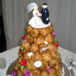Traditional French wedding cake croquembouche