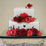 Gluten free elegant red rose square wedding cake Mount Isa Bonnies Cakes & Kandies Gympie Cake Decorator