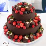 Fresh fruit and dark chocolate ganache for a Valentine's Day wedding at the Caloundra Power Boat Club.