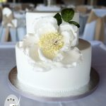 Understated elegance was the order of the day with this gluten free wedding cake Notovel Twin Waters Resort.