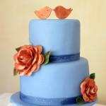 Gluten free lime & coconut wedding anniversary cake with copper coloured camellia flowers & edible bird cake toppers | Bonnie's Cakes & Kandies, Gympie, Rainbow Beach & Sunshine Coast Cake Decorator.