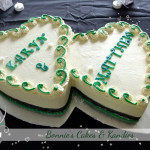 Interlocking heart shaped buttercream wedding cake Gympie Rainbow Beach Noosa Beach wedding cakes