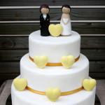 Three tier yellow hearts gluten free wedding cake Gympie Rainbow Beach