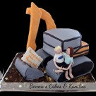Custom made excavator digger engagement cake by Bonnies Cakes & Kandies Gympie