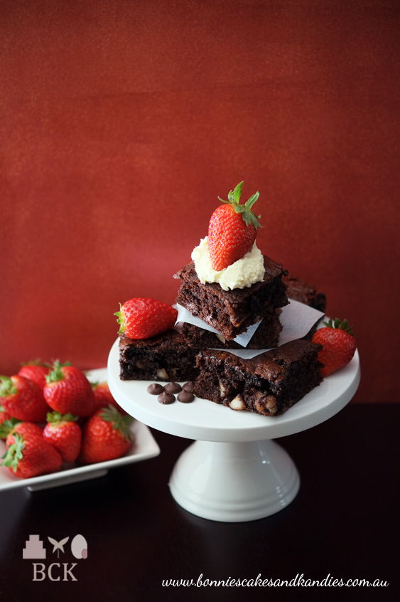 Grain free macadamia birthday brownies with fresh cream & strawberries (Gluten Free)  |  Bonnie's Cakes & Kandies, Gympie