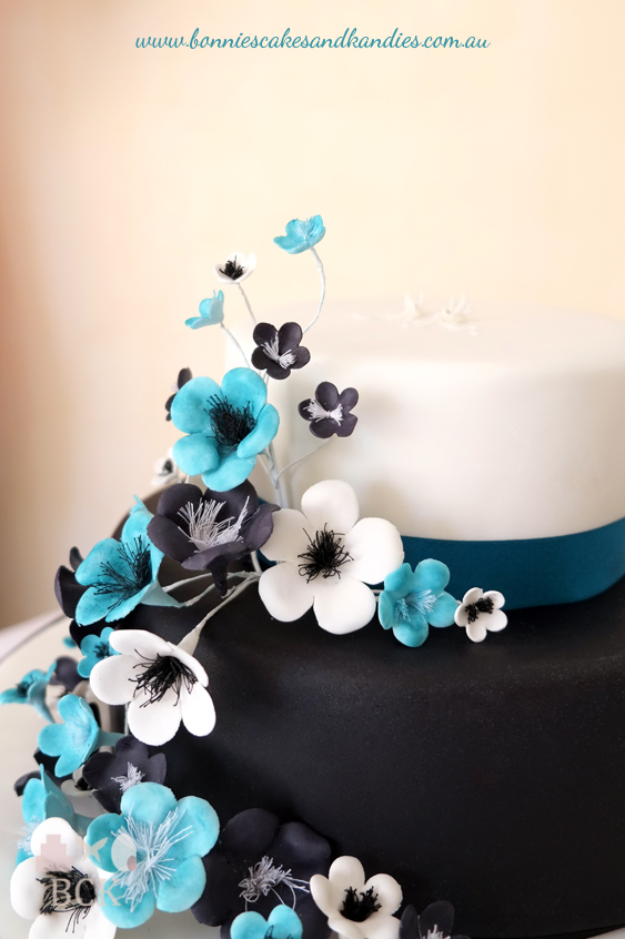 Black, white & blue, two tier engagement cake  |  Bonnie's Cakes & Kandies, Gympie