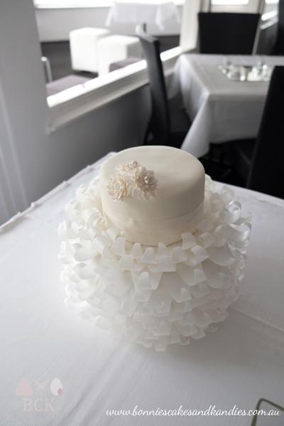 Romantic, white wedding cake set up at See Plus Function Centre, Mooloolaba | Bonnie's Cakes & Kandies, Gympie & Sunshine Coast.