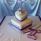 Mackay purple butterfly angled heart and square shaped wedding cake Bonnie's Cakes & Kandies Gympie