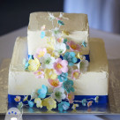 Pretty spring flower square buttercream wedding cake Gympie wedding