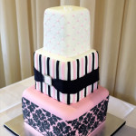Baby pink and black damask {Gympie Wedding Cake}