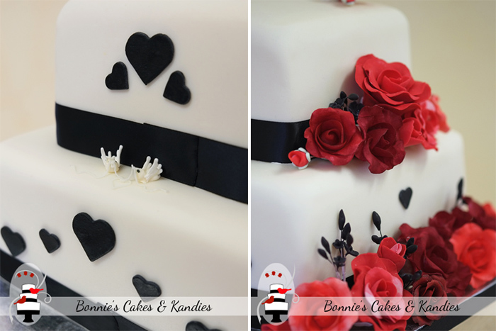 Red, black and ivory wedding cake design  |  Bonnie's Cakes & Kandies