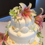 Sand, Seashells, and Fresh Flowers for a Beach Wedding {Rainbow Beach Wedding Cake}