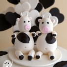 Black and white cow cake toppers love hearts custom birthday cakes Gympie Bonnies Cakes & Kandies