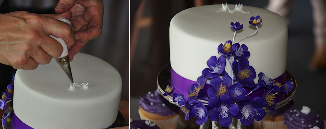 Piping my signature lovebirds to add a subtle decoration to the top of the cutting cake, and a close-up of the spray of handmade purple icing blossoms placed at the front of the cake. Photographs by Anthony Cooper - anthony.cooper@inet.net.au