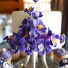 Purple icing flower blossoms for pretty cutting cake and cupcake tower Gympie wedding cakes
