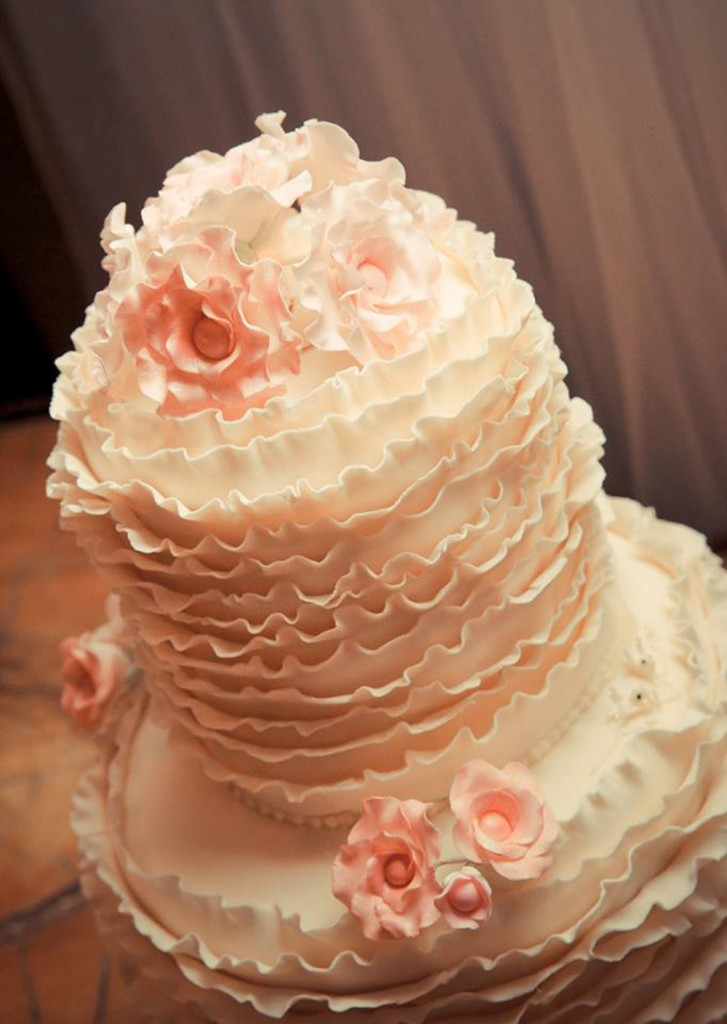 Extended height ruffle wedding cake by Bonnie's Cakes & Kandies, beautifully and artistically photographed by Mitchell J Carlin Wedding Photographer.