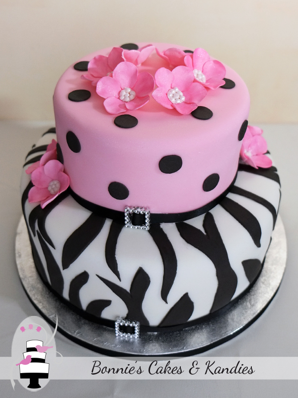 Pink Black And White Zebra Print Cakes