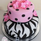 Gluten free 30th birthday cake pink black white silver zebra stripe with flowers and polka dots Bonnies Cakes & Kandies Gympie Birthday Cakes