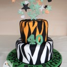 White orange black tiger stripes 40th birthday cake Bonnies Cakes and Kandies Gympie birthday cakes