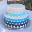 Blue ombre hearts wedding cakes Rainbow Shores Rainbow Beach wedding cake makers Bonnies Cakes and Kandies Gympie