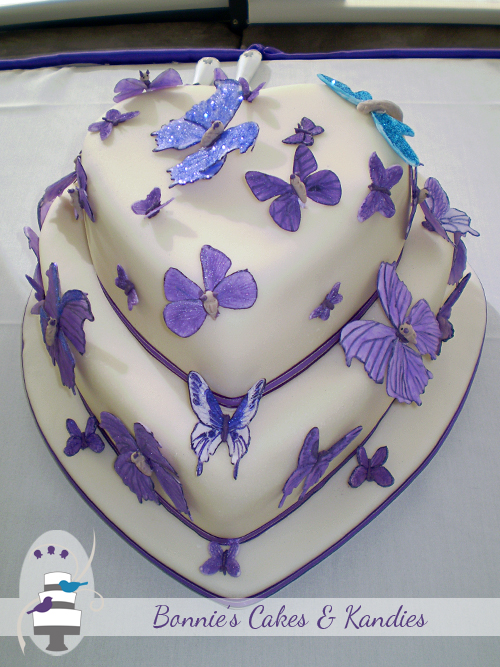 Handcrafted edible purple butterflies and blue dragonfly for a Gympie wedding cake |  Bonnie's Cakes & Kandies