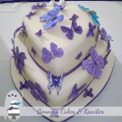 Purple butterfly wedding cake