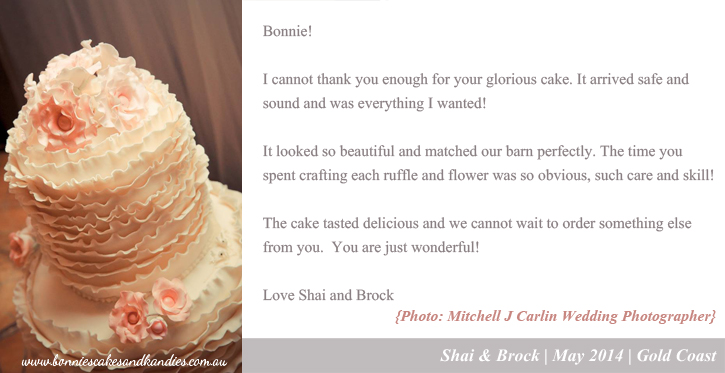 Kind words from Shai & Brock who were married at the Boomerang Farm in Mudgeeraba last year. Photograph by Mitchell J Carlin Wedding Photographer.