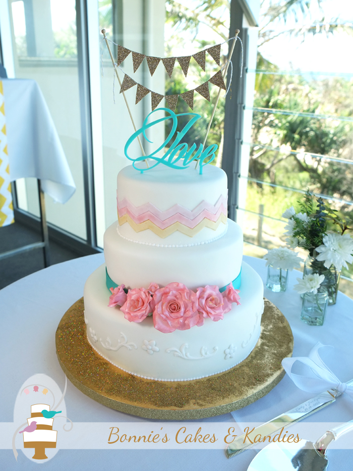 Rainbow Beach wedding cake