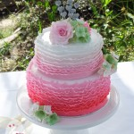 Hydrangeas, roses, and pink ombre ruffles  {Fraser Island wedding cake}
