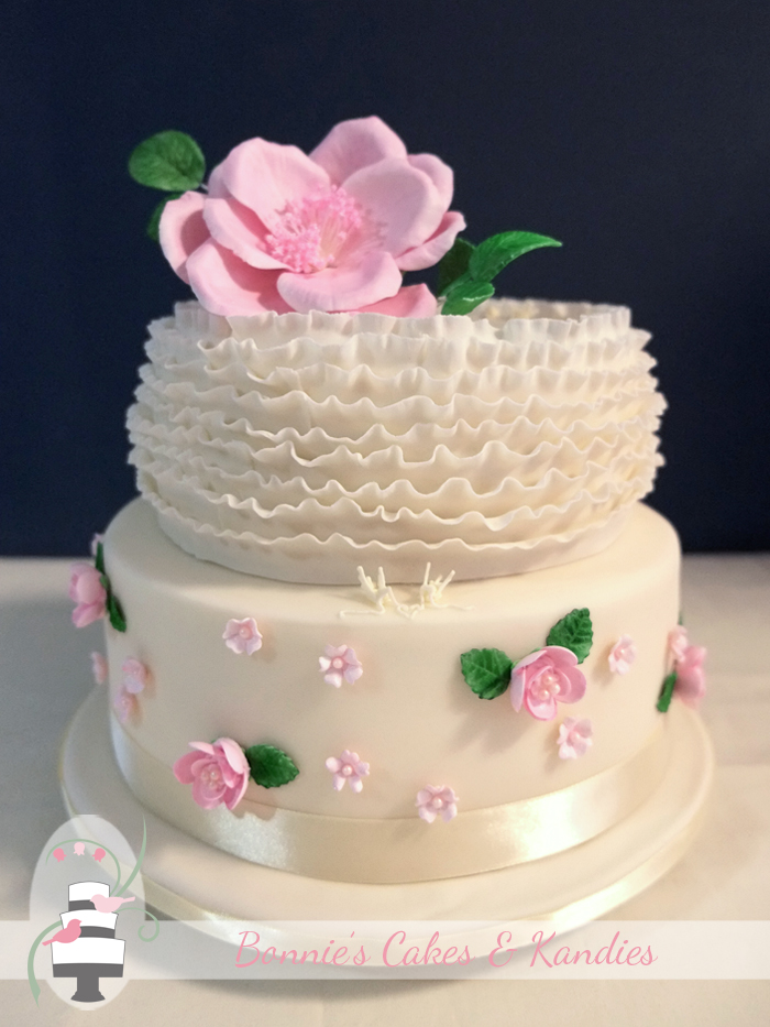 Ruffles and roses gluten free vegan wedding cake