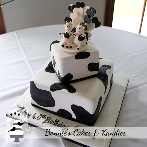 Cow print animal cake Nut free birthday cake