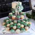 Rainbow Beach wedding cake and cupcake presentation