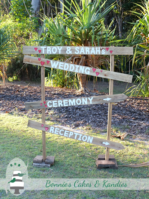 Rainbow Beach wedding ceremony reception sign