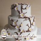 Cherry Blossoms Rainbow Beach Wedding Cake