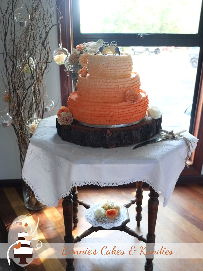 Belgian apple teacake, peppermint crisp mud cake, and cookies & cream mud cake – three great flavours for Mel & Tristan's wedding cake   Bonnie's Cakes & Kandies