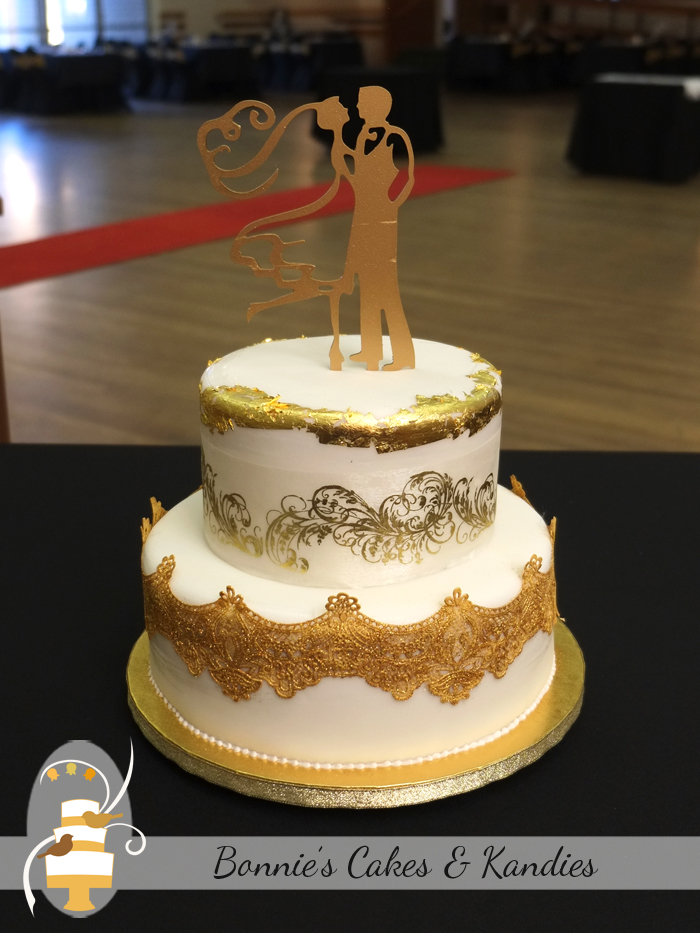 Golden Debutante Ball Celebration Cake