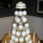 Elegant cake and cupcake tower displays