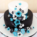 Engagement cake teal black white & blue icing flowers Gympie, Maryborough, Rainbow Beach & Sunshine Coast Cake Decorator