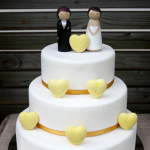 Three tier yellow hearts gluten free wedding cake Gympie Rainbow Beach