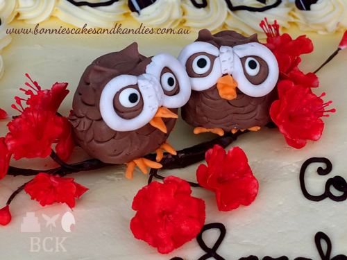 Flower paste cherry blossoms & owls decorated my daughter's gluten free engagement cake  |  Bonnie's Cakes & Kandies, Gympie.