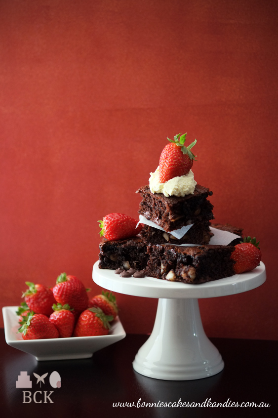 Gluten & grain free macadamia brownies topped with strawberries and fresh cream  |  Bonnie's Cakes & Kandies, Gympie.
