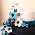 Black, white & blue, two tier engagement cake | Bonnie's Cakes & Kandies, Gympie