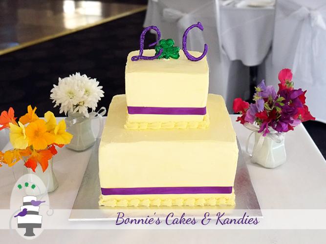 Two tier square white chocolate buttercream wedding cake for a beautiful Rainbow Beach wedding | Bonnie's Cakes & Kandies
