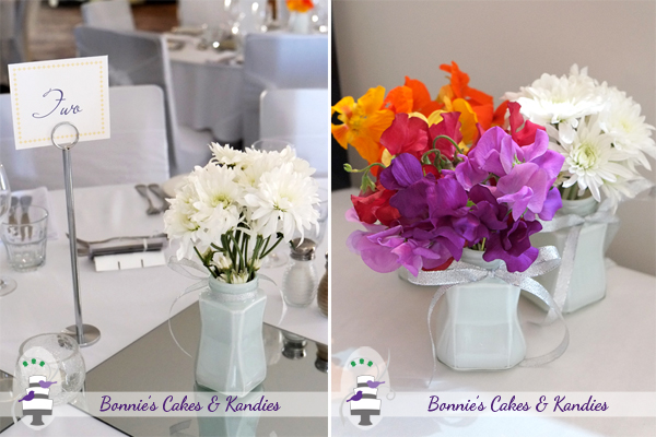 Gorgeous, locally-grown fresh flowers added beautiful colour to the reception room: nasturtiums, sweet peas, chrysanthemums  |  Bonnie's Cakes & Kandies