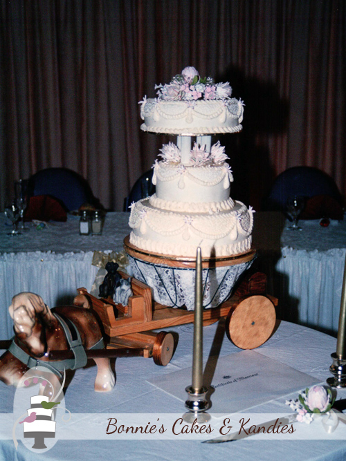 Custom made horse and dray cake stand  |  Bonnie's Cakes & Kandies.
