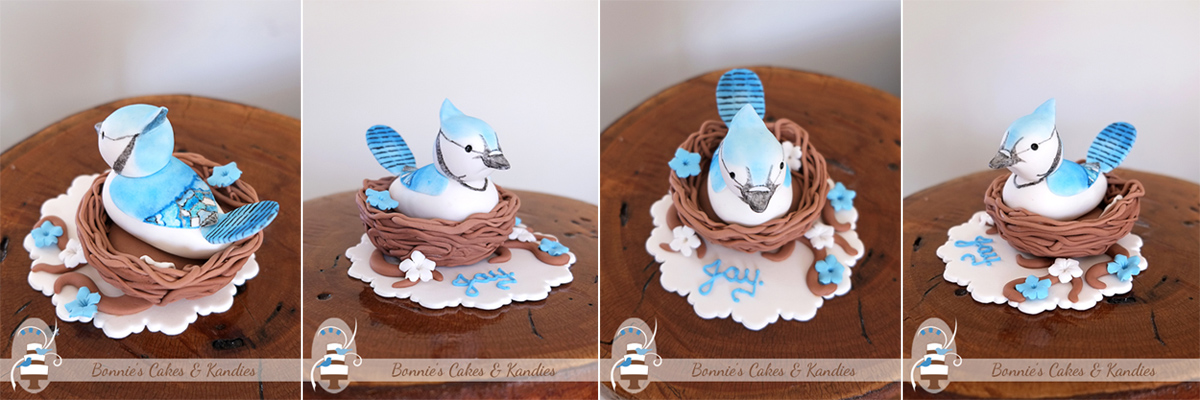 Custom made hand painted baby bird cake topper Gympie