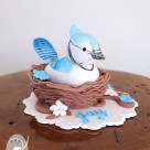 Custom made jaybird cake topper for Naming Day celebration