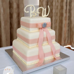 All wrapped up: Elegant, square wedding cake {Rainbow Beach Wedding Cake}
