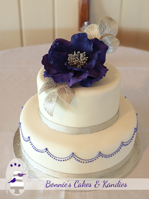 An elegant cake with a purple and silver theme for a 50th birthday celebration  |  Bonnie's Cakes & Kandies, Gympie